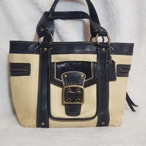 Coach Legacy Straw and Leather Tote L05K-113